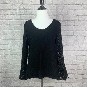 Talbots Black Lace Bell Sleeve Top Large